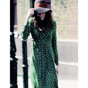 Boden Green Printed Boho Dress